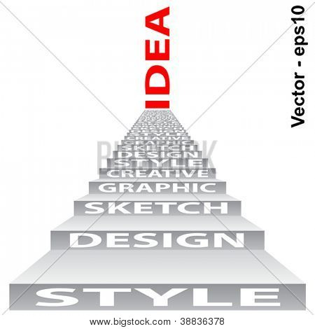 Vector eps concept or conceptual 3D stair or steps isolated on white background as metaphor for design,graphic,hand ,child,young,idea,style,creative,fashion,artist,art,decor abstract project