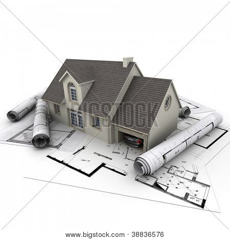3D rendering of a house with garage on top of blueprints