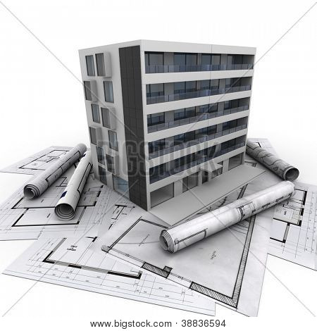 3D rendering of a modern apartment building on top of blueprints