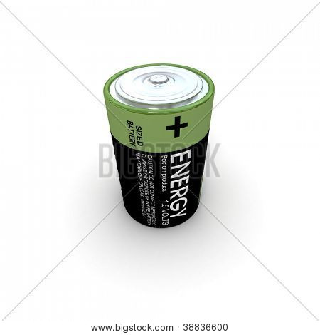 3D rendering of alkaline battery