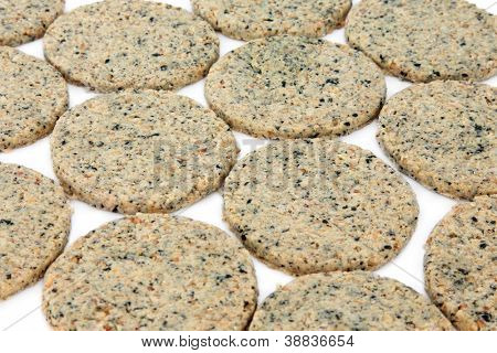 Laverbread oatcake biscuits over white background. Welsh speciality.