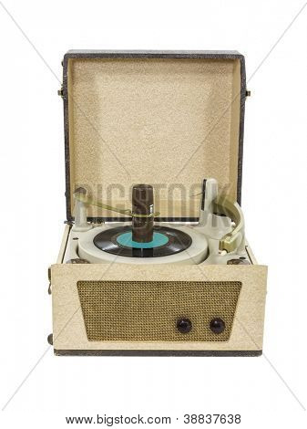 Retro record player from the 1960's with clipping path.