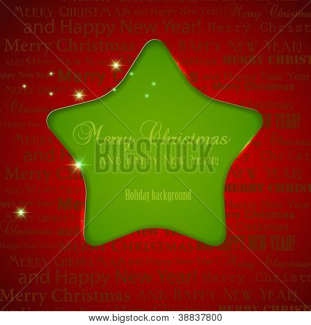 Winter background with Christmas star hole in paper and copy space. Vector Illustration with place for text.