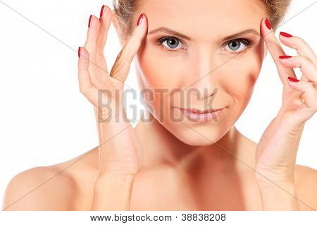 Beautiful young woman taking care of her health. Isolated over white background