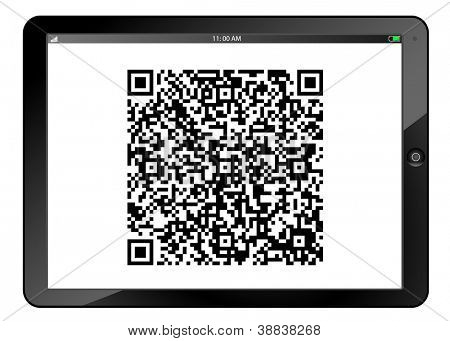 Table PC with QR code on screen isolated on white