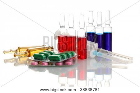 medical ampules, pills and syringes, isolated on white