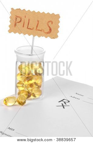 Capsules in receptacle with prescription pharmacist isolated on white
