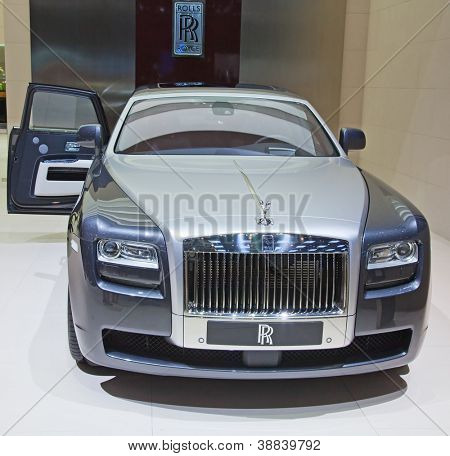 GENEVA - MARCH 8: The Rolls Royce Phantom Spirit on display at the 81st International Motor Show Palexpo-Geneva on March 8; 2011 in Geneva, Switzerland.