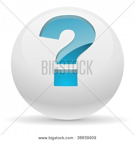 3D white button with blue question mark vector illustration. Help concept.