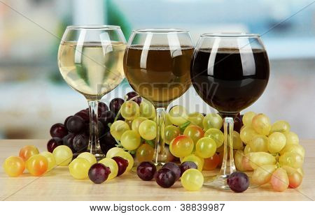 White, pink and red wine in glass on room background