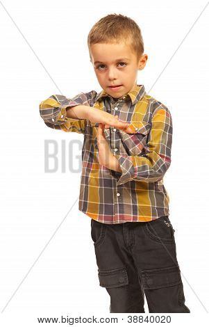 Child Boy Showing Time Out