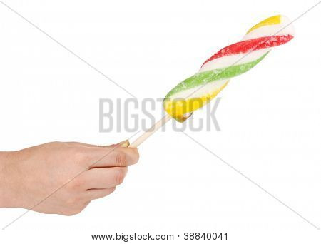 Colorful fruit juice ice cream in hand isolated on white