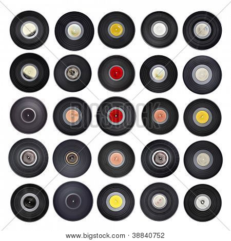 Old vinyl records collection isolated on white background