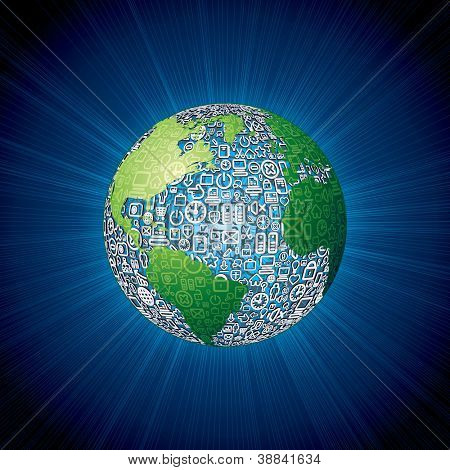 World Globe made with Social Media Icons. Vector Background