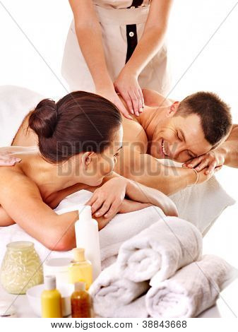 Man and woman relaxing in spa. Isolated.