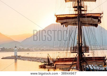 Mast frigate amid bay of Alanya. Turkey.