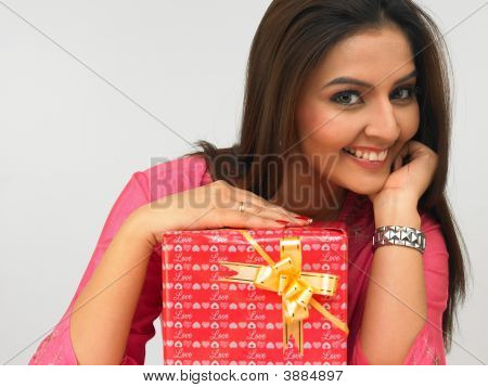 Indian Lady With Gift Box