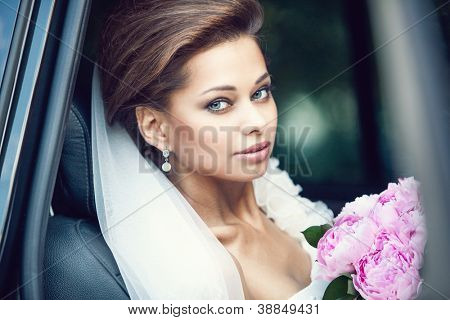 Beautiful happy young bride