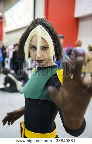LONDON, UK - OCTOBER 27: Rogue from X-men posing at the London Comicon MCM Expo. Most participants dress up as superhero to compete in the Euro Cosplay Championship. October 27, 2012 in London.
