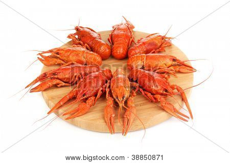 Tasty boiled crayfishes on chopping board isolated on white
