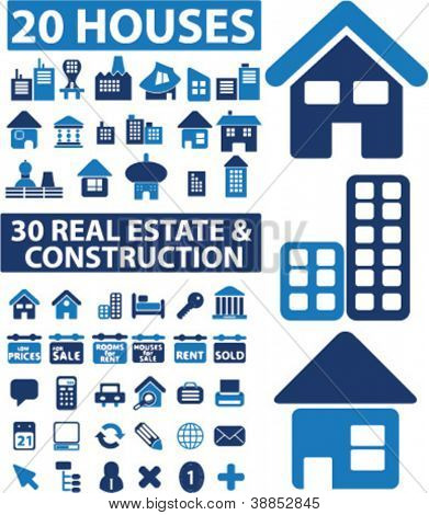 50 houses & real estate & construction icons set, vector