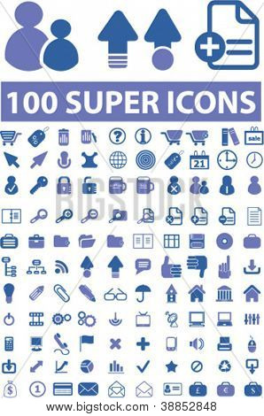 100 super isolated icons set, vector