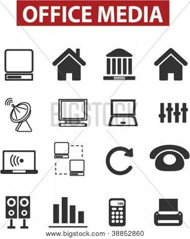 Oficina & los medios de comunicación los iconos set, vector