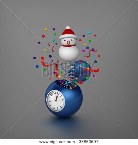Snowman and ornaments bounced out from sphere alarm clock when Christmas was coming