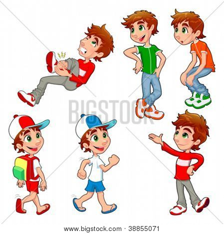 Boy in different poses and expressions.  Vector isolated characters.