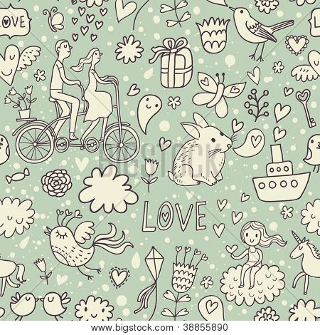 Romantic vintage seamless pattern. Cute cartoon illustration in vector. Rabbits, couple of lovers, presents, birds and others