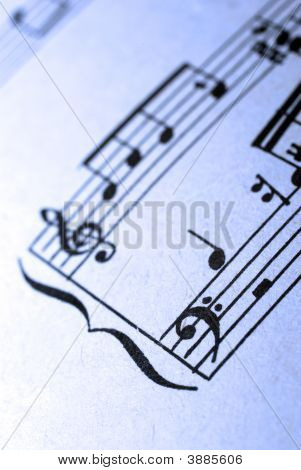 Closeup Of Old Musical Sheet\'s Fragment