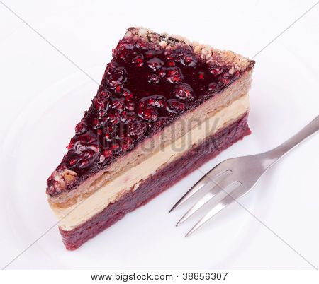 Piece of fruity cake on the plate