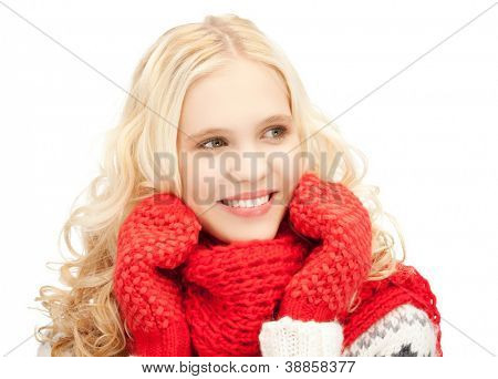 bright picture of beautiful woman in mittens.