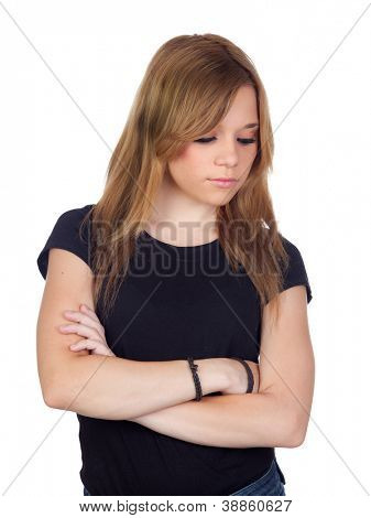 Attractive blond woman with black shirt saddened isolated on white background