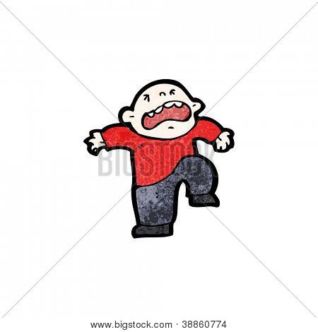 cartoon little man having temper tantrum