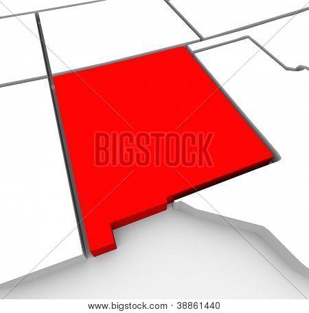 Der rote abstrakten Zustand-Karte von New Mexico, 3D-Render symbolisiert auf den Staat um seine Outl finden