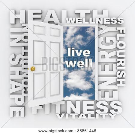 Health care words around a door opening to the words Live Well -- words include energy, flourish, condition, in shape, fitness, vitality, wellness