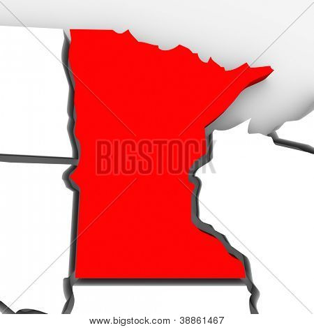 A red abstract state map of Minnesota, a 3D render symbolizing targeting the state to find its outlines and borders
