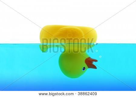 Drowning duck in blue water
