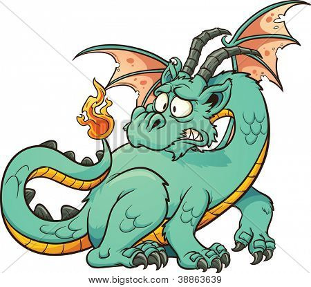 Cute cartoon green dragon. Vector clip art illustration with simple gradients. All in a single layer.