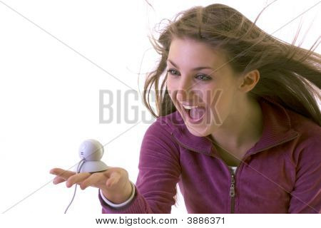 Girl And Web Camera Screaming And Laughing