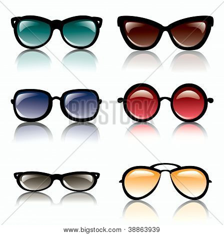 Sun Glasses Set Of Icons