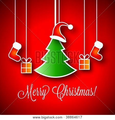 Merry Christmas Vector Illustration | Green Xmas Tree | Little Gift Boxes | Red Santa Claus Red Hat | Red Stocking