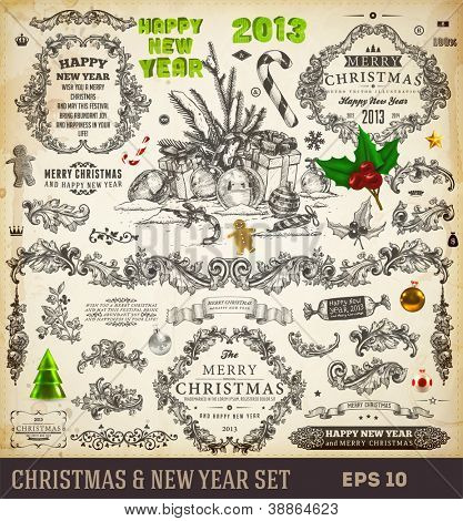 Christmas decoration collection | Set of calligraphic and typographic elements, frames, engraving vintage labels. Ribbons, sweet, hand drawn gifts, Gingerbread man and fur-tree branches with balls.