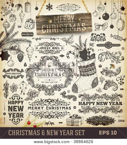 Colección de decoración de Navidad | Conjunto de elementos tipográficos y caligráficos, marco de madera, vintage