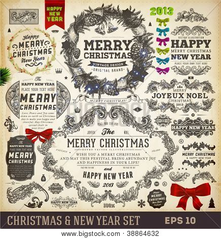 Christmas decoration collection | Set of calligraphic and typographic elements, frames, vintage labels. Ribbons, stickers, ribbon bows set and fur-tree branches - all for Xmas and New Year design.