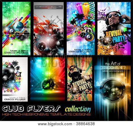 Club Flyer ultimative Kollektion - hochwertige abstrakte vollständig bearbeitbare Template-Designs für Musik pos