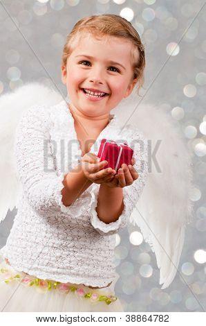 Christmas, Angel - lovely little girl celebrating Christmas