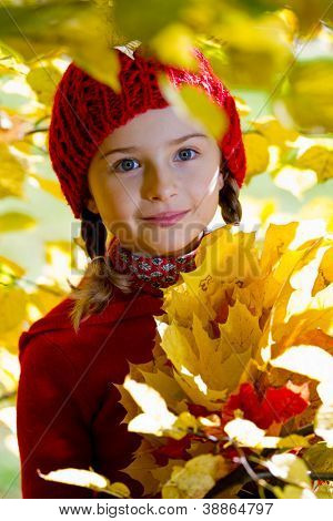 Autumn portrait, child - lovely girl in autumn park