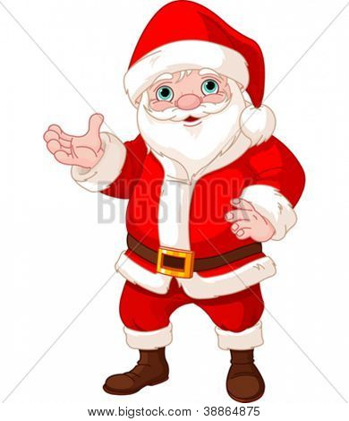 Santa Claus standing, showing to copy space